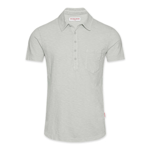 Orlebar Brown - Thompson Garment Dyed Polo Shirt in Rock Salt - Nigel Clare
