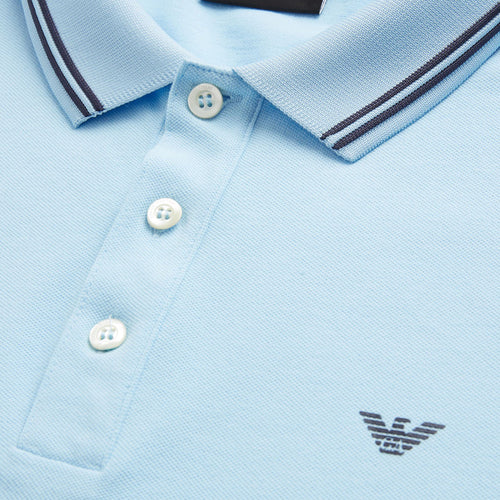 Emporio Armani - Tipped Stretch Polo Shirt in Azurro Blue