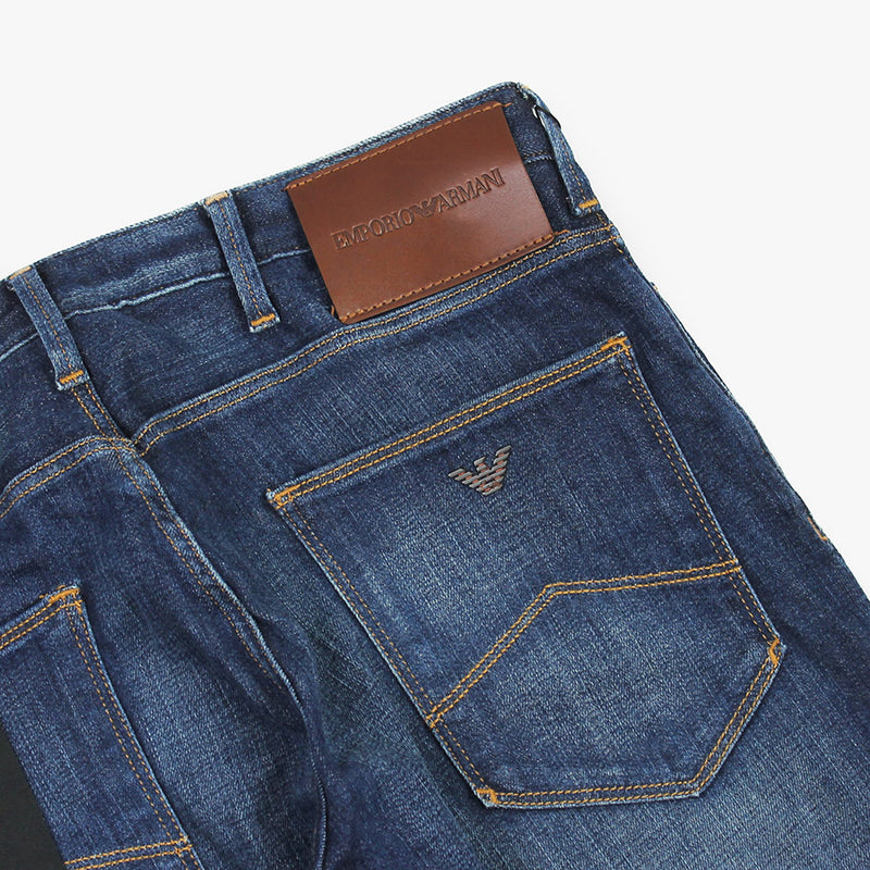 Emporio Armani - J06 1DA8Z Slim Fit Mid Wash Tan Badge Jeans - Nigel Clare