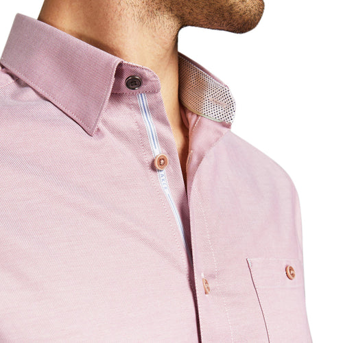 Ted Baker - ZACHARI Long Sleeved Cotton Shirt in Pink - Nigel Clare
