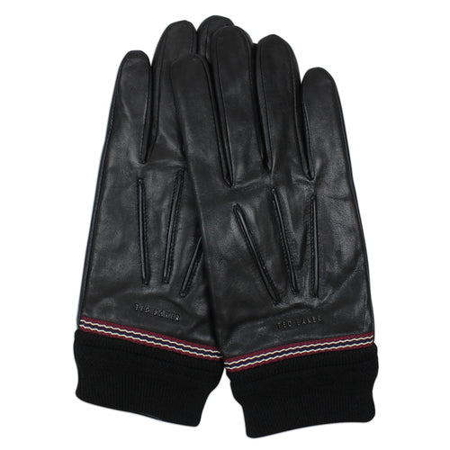 Ted Baker - Leather Ribbed Cuff Gloves in Black - Nigel Clare