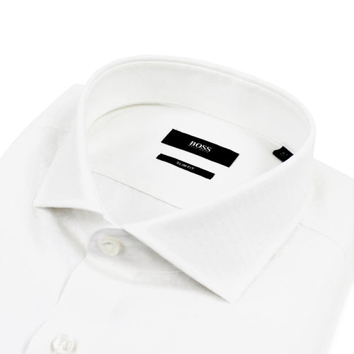 Hugo Boss - Jason Slim Fit Micro Pattern Shirt in White - Nigel Clare