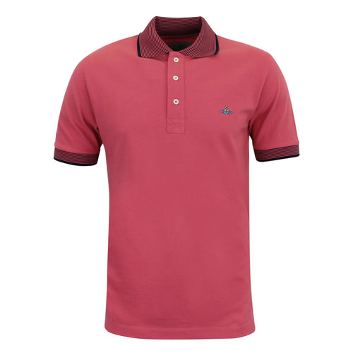 Vivienne Westwood - Striped Trim Polo Shirt in Pink & Navy - Nigel Clare