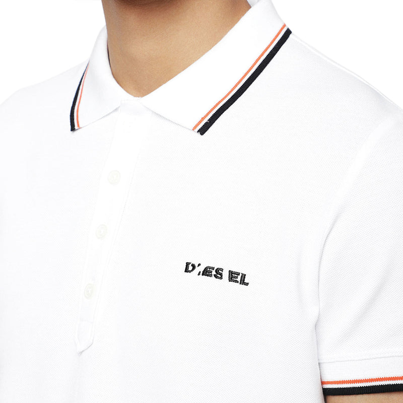 Diesel - T-Randy-Broken Polo Shirt In White - Nigel Clare