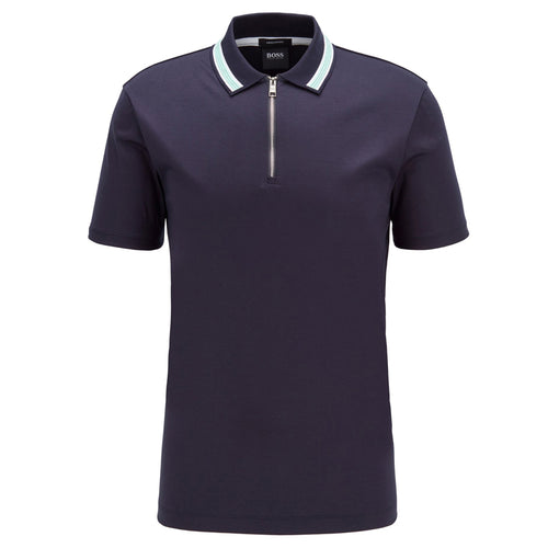 Hugo Boss - Paras Zip Neck Regular Fit Polo Shirt in Dark Blue - Nigel Clare