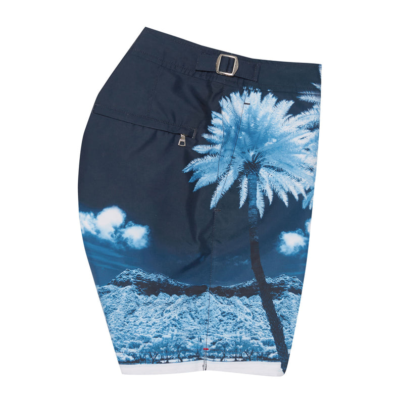 Orlebar Brown - Bulldog Photographic Swim Shorts in Blue Palms - Nigel Clare