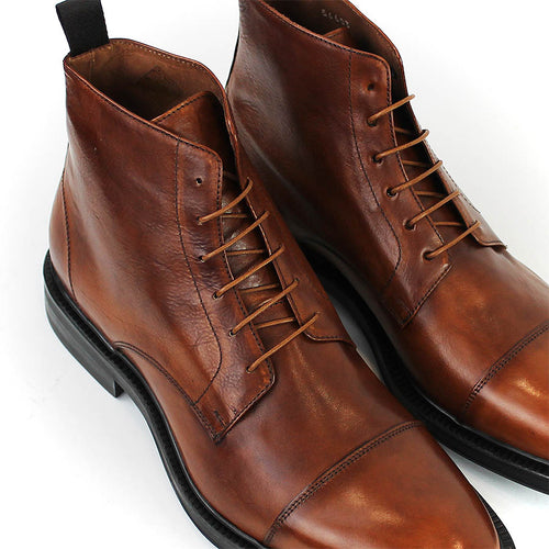 Paul Smith - Cubitt Lace Up Leather Boots in Tan - Nigel Clare