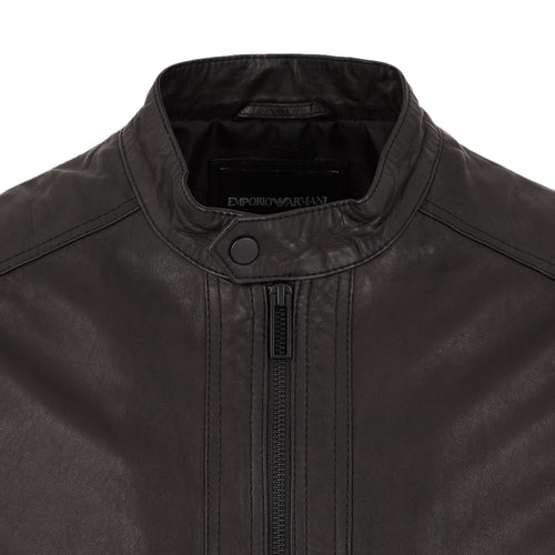 Emporio Armani - Nappa Leather Jacket in Black