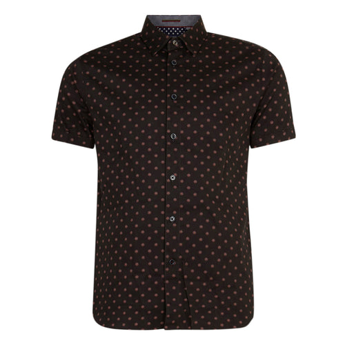 Ted Baker - Lliam Geo Print Cotton SS Shirt in Navy - Nigel Clare
