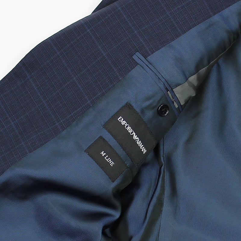 Emporio Armani - M Line Slim Fit Check Suit in Navy - Nigel Clare