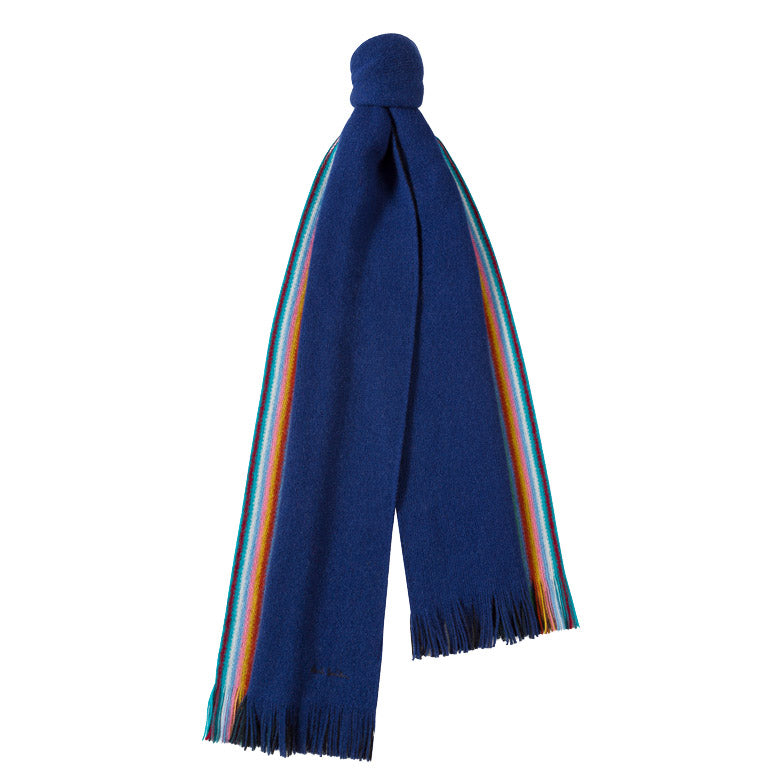 Paul Smith - Multi-Striped Edge Double-Face Wool Scarf in Blue - Nigel Clare