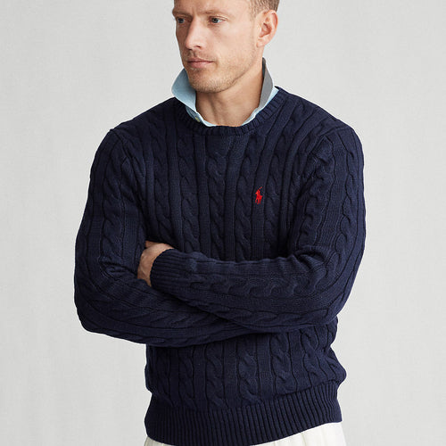Polo Ralph Lauren - Cable Knit Cotton Jumper in Navy - Nigel Clare