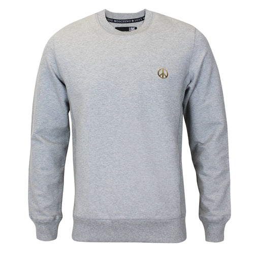 Love Moschino - Peace Logo Crew Neck Jumper in Grey - Nigel Clare