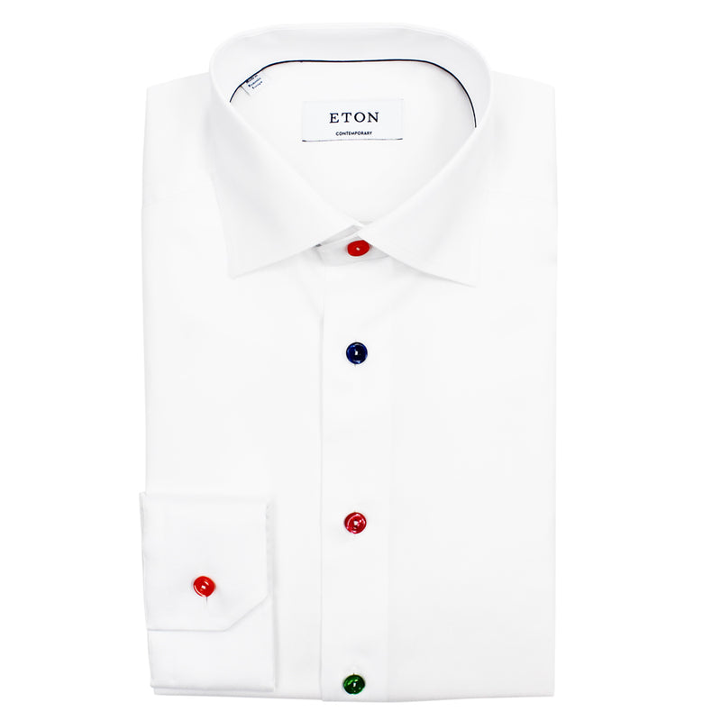 Eton - Contemporary Fit Coloured Button Shirt in White - Nigel Clare