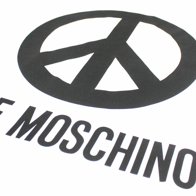 Love Moschino - Peace Logo T-Shirt in White/Black - Nigel Clare