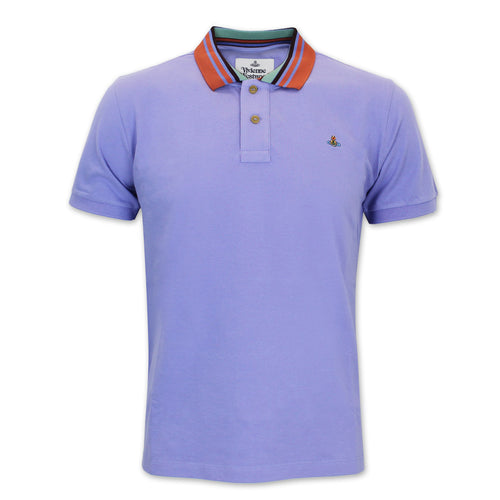 Vivienne Westwood - Striped Collar Polo Shirt in Lilac - Nigel Clare