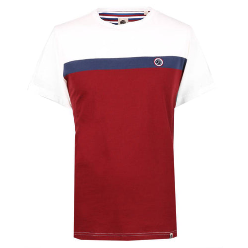 Pretty Green - Front Colour Block T-Shirt In Burgundy - Nigel Clare