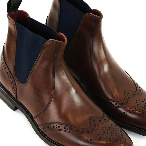 Loake - Hoskins Brogue Chelsea Boots in Dark Brown Leather
