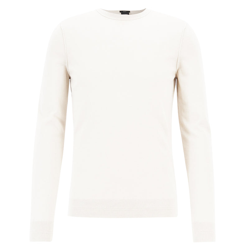 BOSS Orange - Kwasiros Slim Fit Crew Neck Jumper in White - Nigel Clare