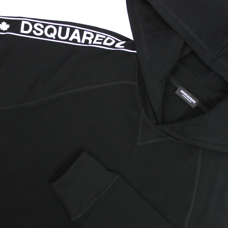 DSQUARED2 - Tape Logo Pullover Hoodie in Black - Nigel Clare