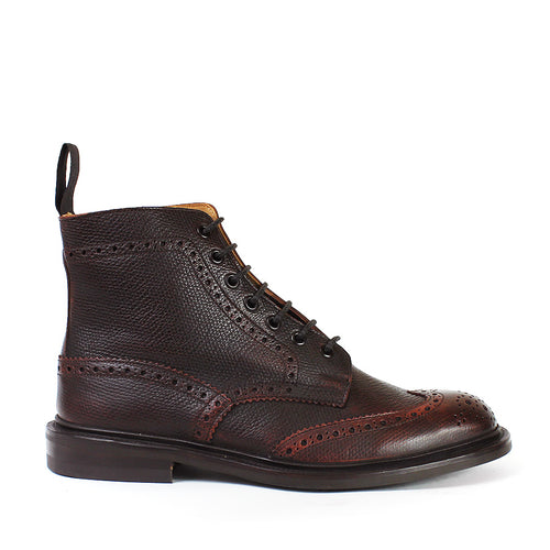 Tricker's - Stow Burgundy Crosshatch Grain Brogue Boots - Nigel Clare