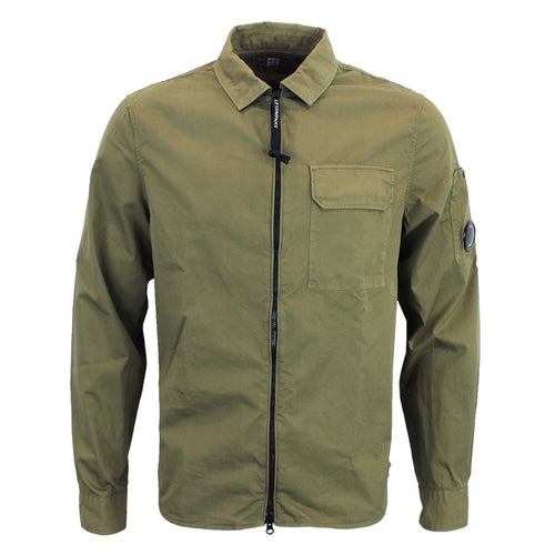 CP Company - Garment Dyed Gabardine Lens Overshirt in Khaki - Nigel Clare