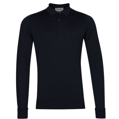 John Smedley - Cotswold Knitted Wool Polo Shirt in Midnight - Nigel Clare