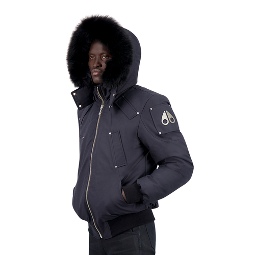 Moose Knuckles - Ballistic Bomber Jacket in Navy & Black Fox Fur - Nigel Clare