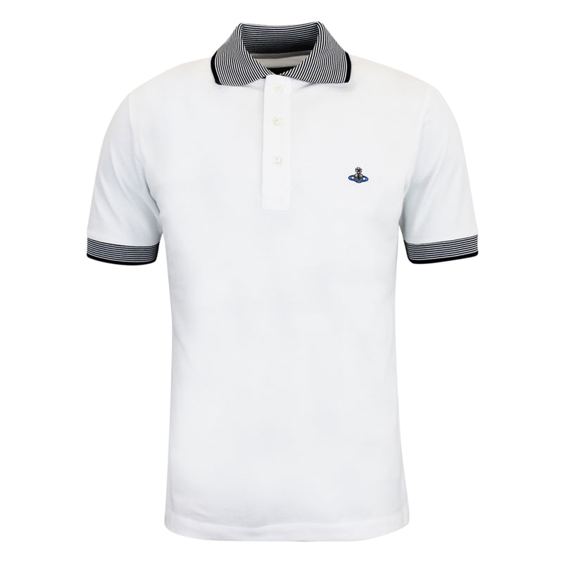 Vivienne Westwood - Striped Trim Polo Shirt in White & Navy - Nigel Clare