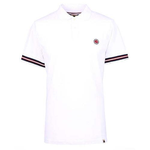 Pretty Green - Raised Tipped Cuff Polo Shirt In White - Nigel Clare