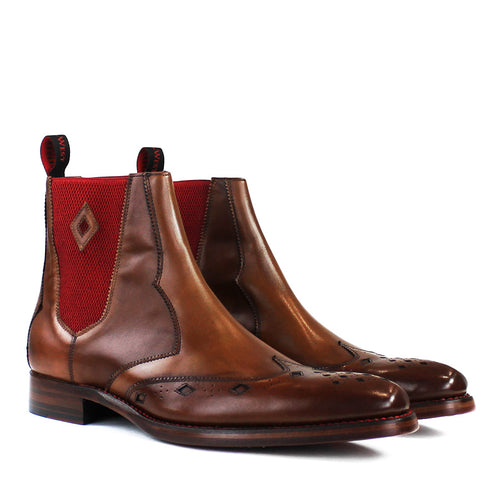 Jeffery West - Scimitar Dexter-B Mahogany Leather Chelsea Boots - Nigel Clare