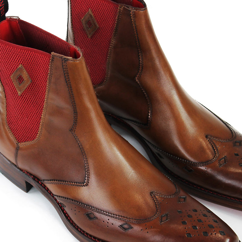 Jeffery West - Scimitar Dexter-B Mahogany Leather Chelsea Boots