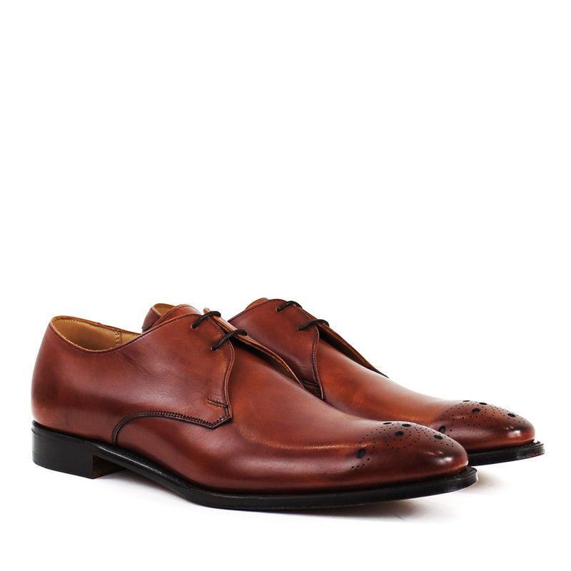 Cheaney - Hardy Leather Brogue Derby Shoes in Brown - Nigel Clare