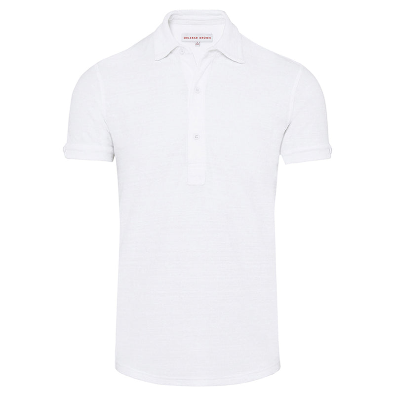 Orlebar Brown - Sebastian Towelling Polo Shirt in White - Nigel Clare