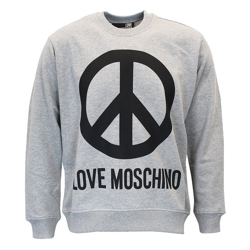 Love Moschino - Peace Logo Sweatshirt In Grey Marl - Nigel Clare