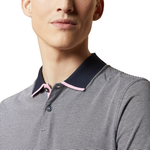 Ted Baker - CAFFINE Striped Polo Shirt in Navy - Nigel Clare