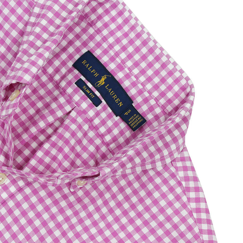 Polo Ralph Lauren - Slim Fit Gingham Oxford Shirt in Pink/White - Nigel Clare