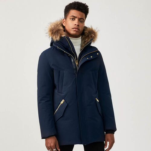 Mackage - Edward Down Coat with Removable Hood and Trim in Navy