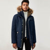 Mackage - Edward Down Coat with Removable Hood and Trim in Navy - Nigel Clare