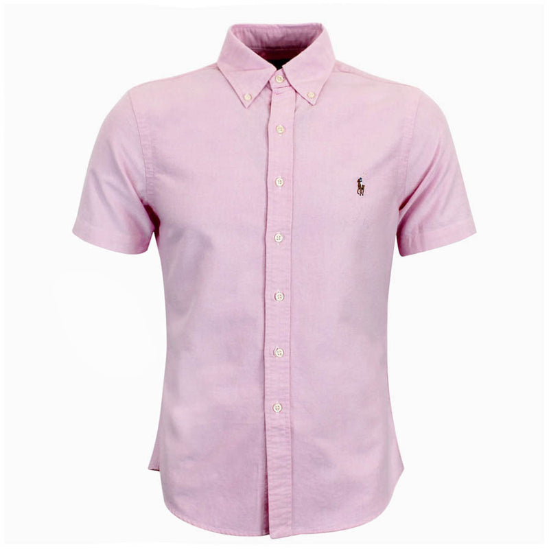 Polo Ralph Lauren - Slim Fit Short Sleeved Oxford Shirt in Pink - Nigel Clare