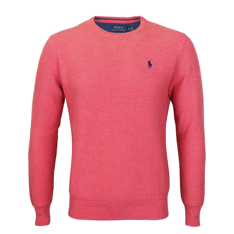 Polo Ralph Lauren - Textured Cotton Crew Neck Jumper in Pink - Nigel Clare