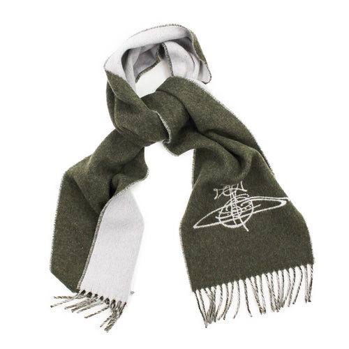 Vivienne Westwood - Double Face Orb Logo Scarf in Green - Nigel Clare