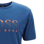 Hugo Boss - Tilburt Regular Fit Two Colour Logo T-Shirt in Blue - Nigel Clare