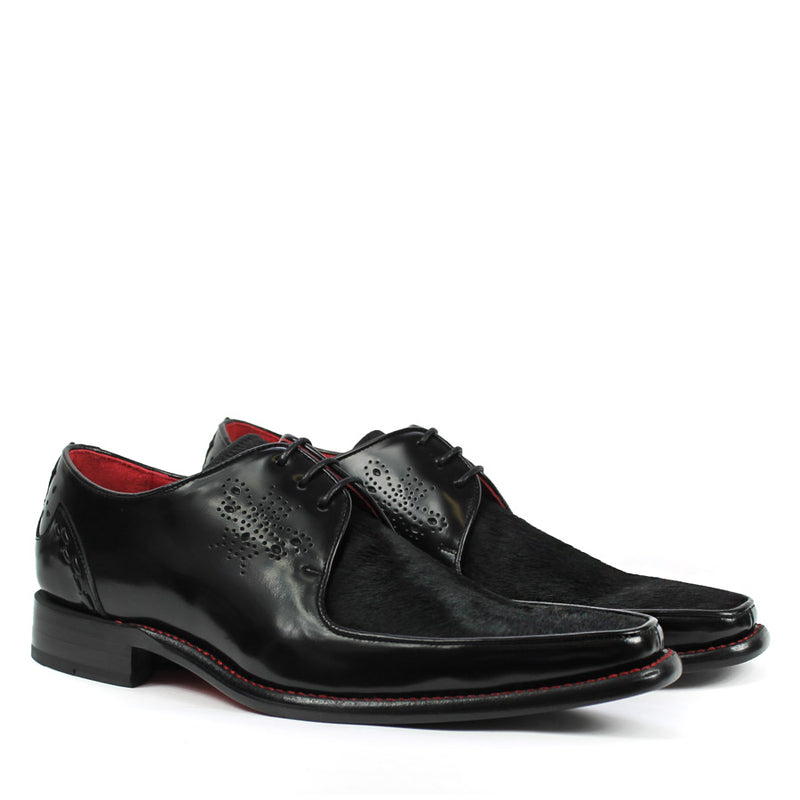Jeffery West - Melly Joint Pony Hair Derby Shoes in Black - Nigel Clare