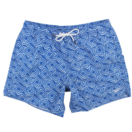 Emporio Armani - Patterned Swim Shorts in Blue / White - Nigel Clare