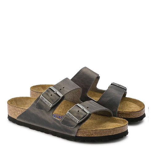 Birkenstock - Arizona Oiled Leather Sandals in Iron - Nigel Clare
