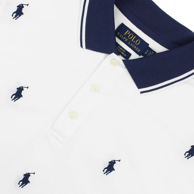 Polo Ralph Lauren - Slim Fit Pony Print Polo Shirt in White/Navy - Nigel Clare