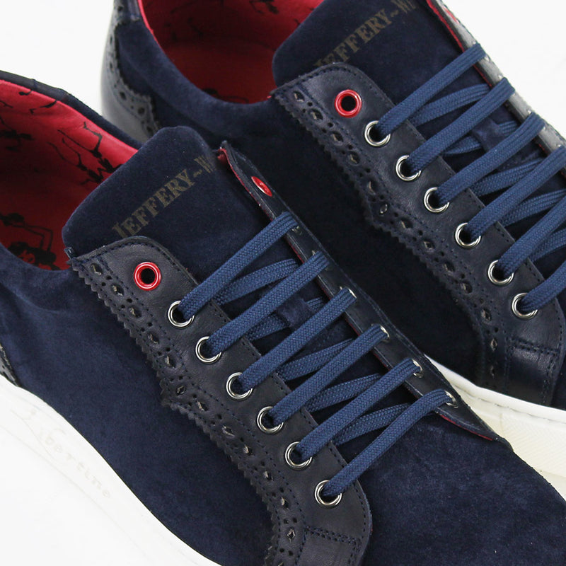 Jeffery West - Apolo Velour Leather Trainers in Navy - Nigel Clare