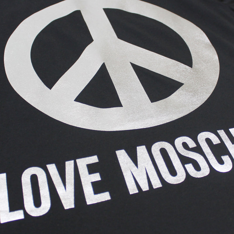 Love Moschino - Peace Logo T-Shirt in Black - Nigel Clare