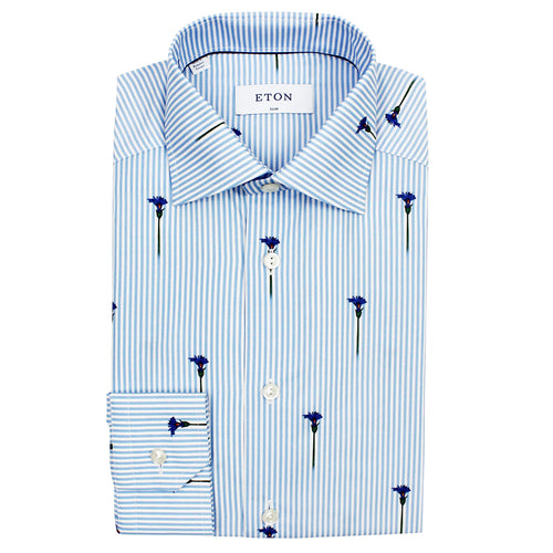 Eton - Slim Fit Striped Floral Print Shirt in Blue & White - Nigel Clare